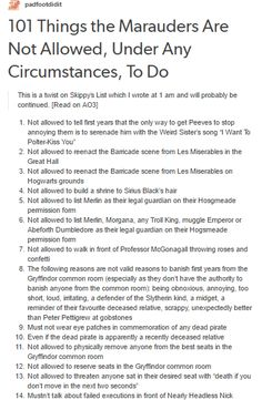 101 Things the Marauders Are Not Allowed, Under Any Circumstances, To Do part 1/5