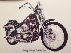 Counted Cross Stitch Pattern Chart HARLEY DAVIDSON Motorcycle Evolution 1990 | eBay