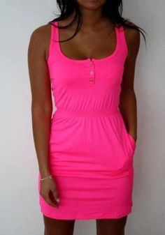 Rose Carmine Plain Single Breasted Pockets Sleeveless Mini Dress