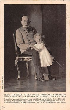 Emperor Franz Josef I of Austria with his great-great-nephew, Archduke Otto of Austria (future Crown Princess of Austria as a son of Emperor Karl I and Empress Zita of Austria). Photographed by Kosel in Vienna, Austria. Kaiser Franz Josef, Franz Josef I, Adele, Impératrice Sissi, Spanish Netherlands, Royal Families Of Europe, Archduke, King Of Prussia, Holy Roman Empire