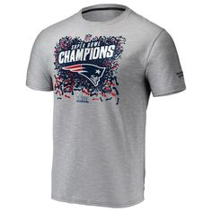 Men s New England Patriots NFL Pro Line by Fanatics Branded Heather Gray  Super Bowl LIII Champions Trophy Collection Locker Room T-Shirt 897f3752b