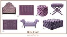Ultra violet- Pantone's 2018 colour of the year in home decor. Ottomans, footstools and headboards at Belle Fierte, London. www.bellefierte.com