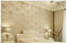 Vintage Classic Beige French Modern Damask Feature Wallpaper Wall paper Roll For Living Room Bedroom TV Backdrop