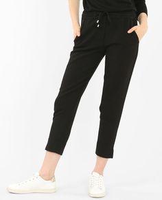 Pantalones de jogging vaporosos con relieve negro