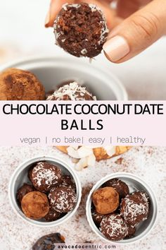 These vegan chocolate coconut date balls are so addicting, simple, and also naturally sweetened. In addition, they are, easy to make, healthy, quick, gluten free, and no bake! These chocolate coconut dates balls are made from just a few ingredients and also all pantry items like almond flour and shredded coconut. Since you do not have to bake them, they come together so fast. These are also great as an afternoon snack and breakfast on the go! #vegan #energyball #vegandessert #vegansnack… Healthy Vegan Cookies, Vegan Treats, Vegan Snacks, Easy Snacks, Snack Recipes, Dessert Recipes, Healthy Snacks, Sin Gluten, Vegan Chocolate