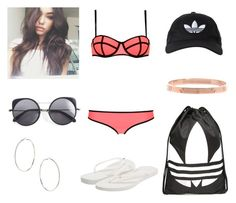 """""""Elena at the pool"""" by annie-stylesx ❤ liked on Polyvore featuring adidas Originals, Triangl, Havaianas, adidas, Topshop and Wood Wood"""