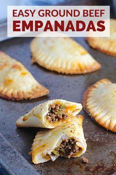 This Recipe for Ground Beef Empanadas is delicious and easy to make! Flaky, buttery pastry with a savory, smokey ground beef filling. Beef Empanadas, Empanadas Recipe, Beef Appetizers, Appetizer Recipes, Dinner Recipes, Vegan Recipes Easy, Mexican Food Recipes, Popeyes Spicy Chicken Recipe, Ready Made Pie Crust