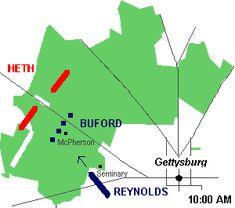 Day 1 battle of Gettysburg July 1. 1863