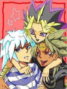 Yami Bakura, Yugi, and Marik [ fan art ] [ ha ha, love how happy Yugi and Marik are, and then there's Bakura <3 <3 ]