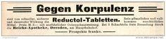 Original-Werbung/ Anzeige 1909 - REDUCTOL TABLETTEN - ca. 115 x 20 mm