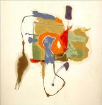 Forma azul en una escena - Helen Frankenthaler