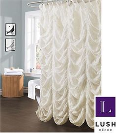 white shower curtain | ... Luxurious Lush Decor Off White Fabric Bathroom Bath Tub Shower Curtain