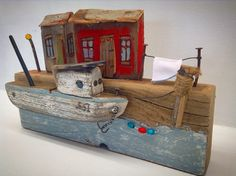 Fishing boat at pier by Greytimberwolfcrafts @etsy.com