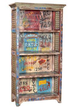 Vintage Cartoon Theme Bookshelf with Brass Decor, Painted Furniture, Industrial Inspiration, Hand Painted, Hand Painted Furniture, Vintage Industrial Furniture, Furniture, Vintage, Industrial Chic
