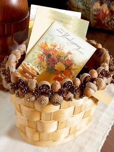 Acorn Basket Embellishment - Maybe paint the basket a fall color.  You could put foam in the bottom then fill with nuts.