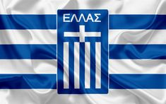 Download wallpapers Greece national football team, emblem, logo, football federation, flag, Europe, flag of Greece, football, World Cup