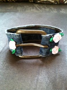 Handmade denim buckle and rose cuff bracelet.  Upcycled Diva