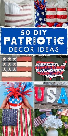 50 DIY Patriotic Decorations and Crafts for 4th fo July home decorating! #4thofjuly July Crafts, Diy And Crafts, American Flag Crafts, Rolled Paper Flowers, Painting Burlap, Hanger Crafts, Pillow Crafts, Diy Banner, 4th Of July Decorations