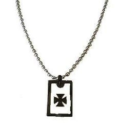 """Iron Cross Stainless Steel Pendant is on a 24"""" Stainless Ball Chain."""