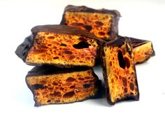 Sponge candy enrobed in tempered dark chocolate... part of a great candy making series!