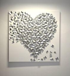 3D Silver Butterfly Art Hollywood Regency Glam / por RonandNoy, $350.00