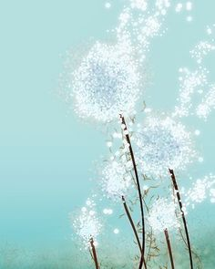 Love. Not sure where I'd put it but I like it.   Dandelion Art  Perennial Moment aqua  8x10 Print  by papermoth, $18.00