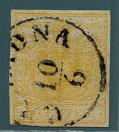 I em. 5 c. giallo ar. chiaro (1f) ann. Cremona 10/6.