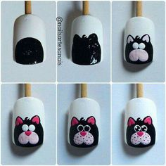 34 Ideas Nail Art Diy Disney Nailart For 2019 Cat Nail Art, Animal Nail Art, Cat Nails, Nail Art Diy, Nail Art Dessin, Nailart, Nails For Kids, Trendy Nail Art, Creative Nails