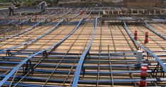 The slab which is tensioned after constructing slab is called Post tension slab. Reinforcement is provided to resist the compression. In Post tension slab the reinforcement is replaced with cables/ … Cool Things To Make, Civilization, Concrete, Construction, Houses, Building, Cool Things To Do