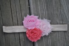 Ombre Pink Shabby Flower Infant Headband by EverywhenBoutique