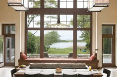 Dining room with a view. Project by Breese Architects and Interiors Studio Martha's Vineyard