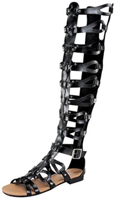 f9f1a28bf4ca2 Atta 17 Womens Knee High Caged Gladiator Strappy Flat Sandals Black 8.5 -  Brought to you