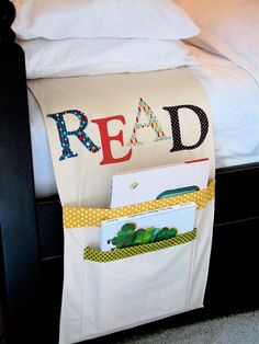 These burlap pockets with iron-on letters will encourage good bedtime reading habits by ensuring your kid's books are always nearby. Get the tutorial at One More Moore.   - HouseBeautiful.com