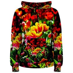 Colorful Tulip Flowers Women's Pullover Hoodies CowCow ($70) ❤ liked on Polyvore featuring tops, hoodies, beautiful, natural, drawstring hoodie, patterned hoodies, print hoodie, hoodies pullover and sweatshirt hoodies