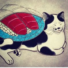 My cat loves sushi! #monmoncat #monmoncats #cat #cats #cattattoo #catart #tattooedcat #tattooedcats #teboricats #neko #horitomo #tattoos #sushi #sushicat by monmoncats