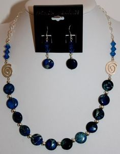 Mystic Blue - Imperial Jasper & sterling silver necklace set - Blingz the Thing Store