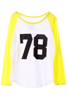 Color Block 78 Print Yellow Sweatshirt