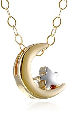 "14k Yellow and White Gold Moon and Star Pendant Necklace, 17"" Amazon Collection http://www.amazon.com/dp/B00O0KWEIC/ref=cm_sw_r_pi_dp_5g5Ivb1018Q0N"