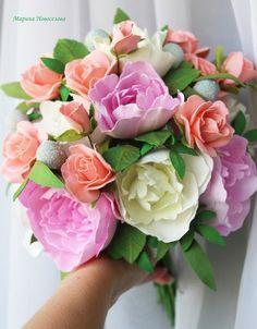 Букет с пионами и розами из фоамирана