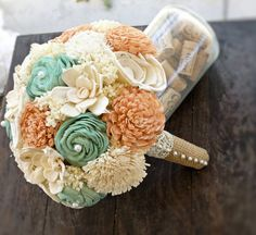 Handmade Wedding Bouquet- Medium Peach Mint Ivory Bridal Bridesmaid Bouquet, Alternative Bouquet, Keepsake Bouquet, Rustic Wedding