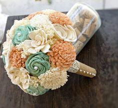 Handmade Wedding Bouquet- Medium Peach Mint Ivory Bridal Bridesmaid Bouquet, Alternative Bouquet, Keepsake Bouquet, Rustic Wedding via Etsy