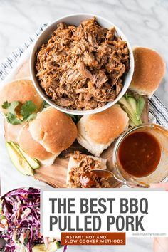 This is the BEST BBQ Pulled Pork with a mouthwatering BBQ sauce and instructions for Instant Pot and Slow Cooker. It's a true family favourite! Carnitas, Slow Cooking, Instant Pot, Bbq Pulled Pork Recipe, Tailgating Recipes, Grilling Recipes, Homemade Bbq, Slow Cooker Pork, Lasagna