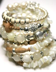 Layered Look Bracelet Beaded Memory Wire