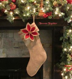 Christmas Stocking Burlap Stocking with by ThrownTogether on Etsy, $45.75