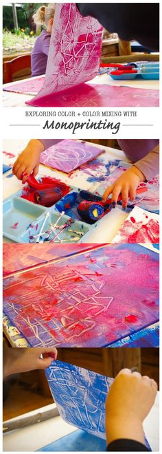 DIY Exploring Color Color Mixing with Monoprinting