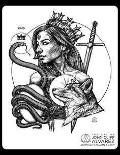 Rubedo 003 // #occult #occultart #art #pen #sketch #surrealism #draw #drawing #moleskine #alchemy #illustration #esoteric #rubedo #red #gold #crown #stone #sun #snake #serpent #ouroboros #egg #infinity#fox #sword