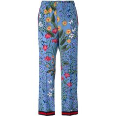 Gucci New Flora pajama trousers ($1,150) ❤ liked on Polyvore featuring blue, floral print wide leg pants, creased pants, stretch waist pants, elastic waist wide leg pants and gucci pants