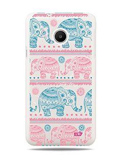 "GRÜV Premium Case - ""Elephants Stencil Drawing Henna Digital Art"" Design - Best Quality Designer Print on White Hard Cover - for Huawei Ascend Y330 GRÜV"