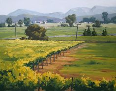 VanDerHoek Art: Beyond the Vineyard's Edge - Large Original Oil Painting of California Vineyards