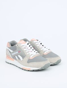I kind of want these old school Reebok's! GL 6000 Athletic - Flat Grey / Steel / Coral Glow / White